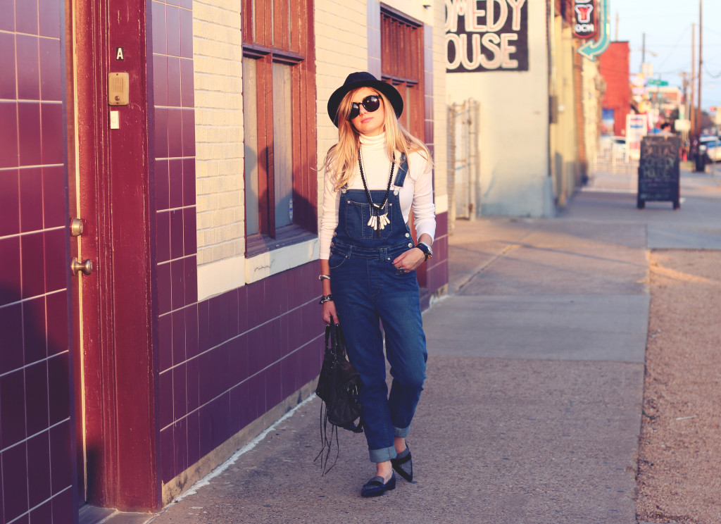 turtleneck and overalls