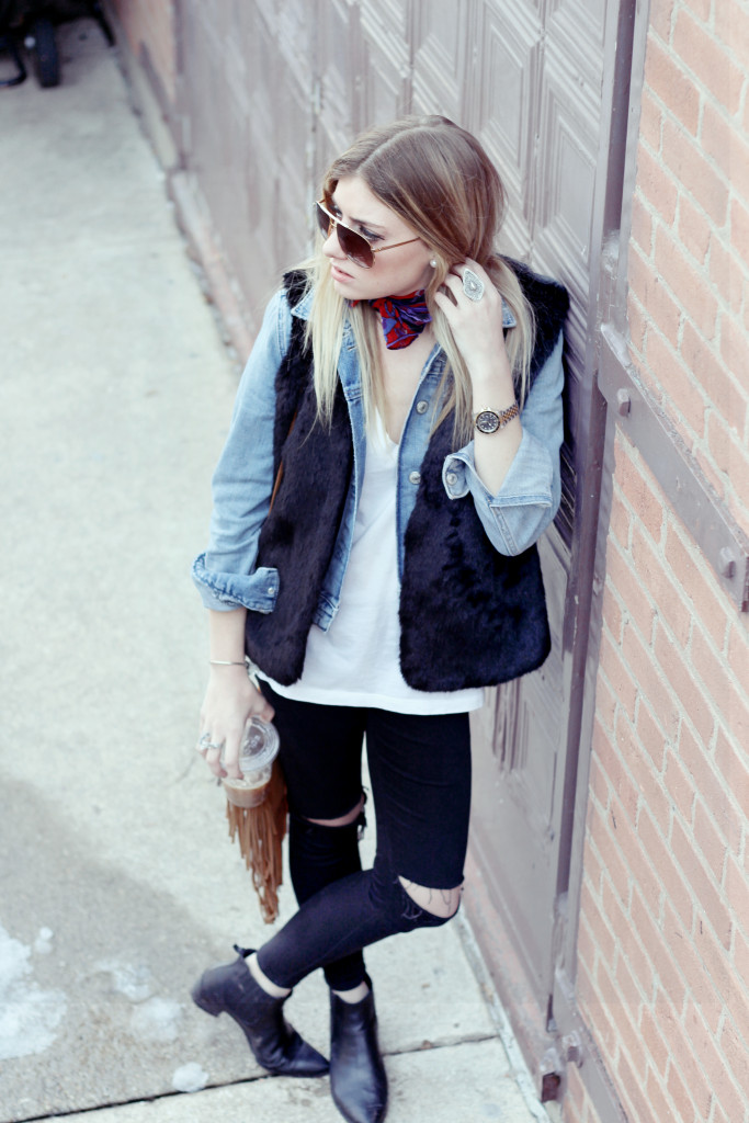 fur vest and jean jacket