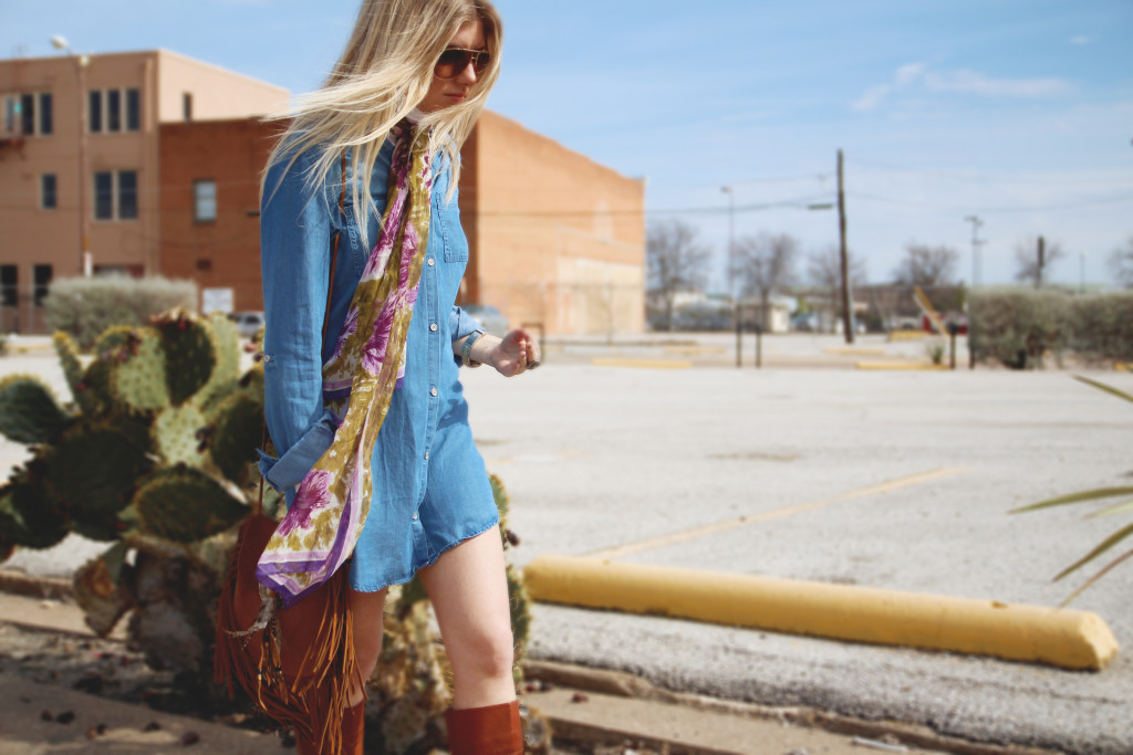 denim dress and neck scarf