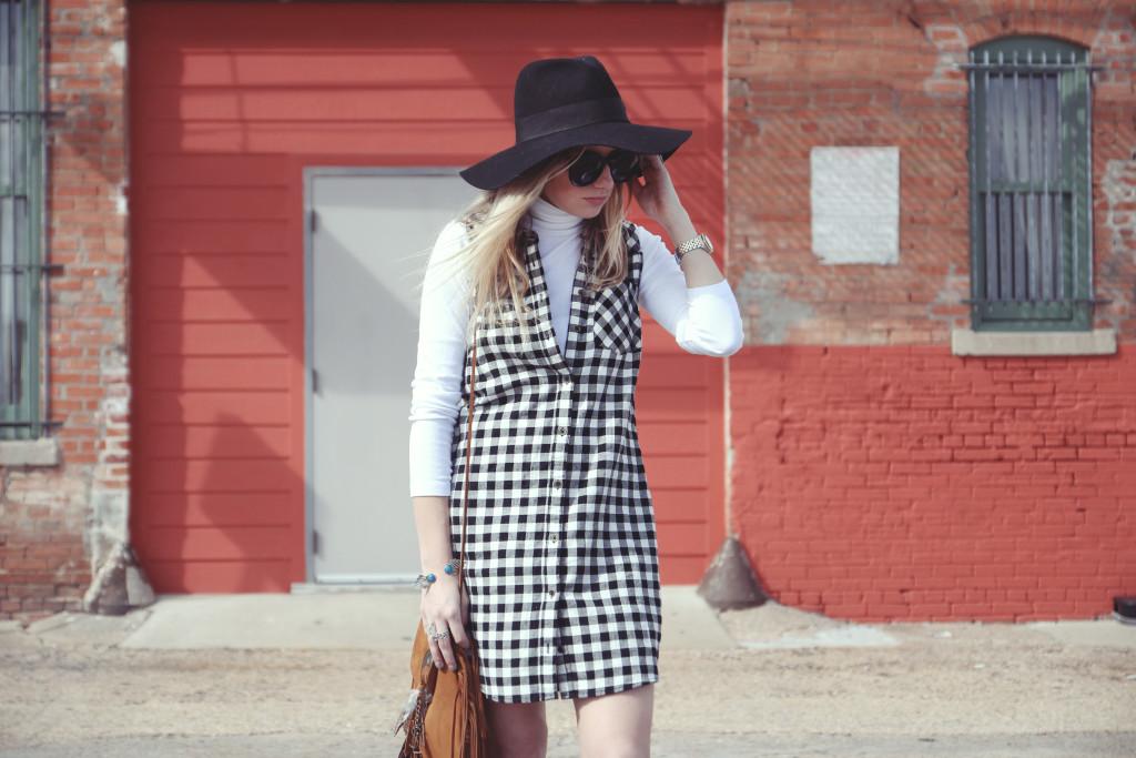 plaid dress and turtleneck