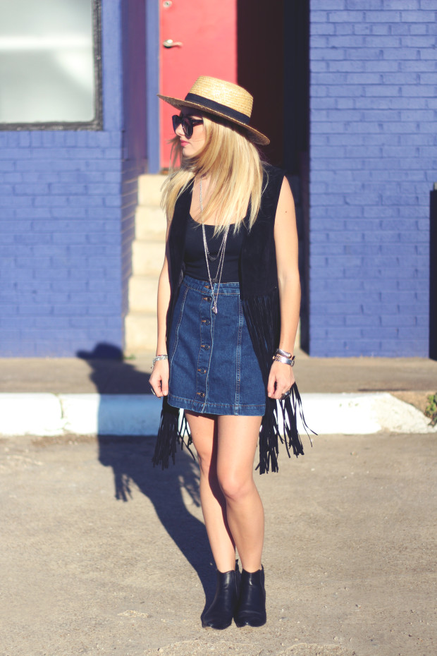 a line denim button front skirt and fringe suede vest
