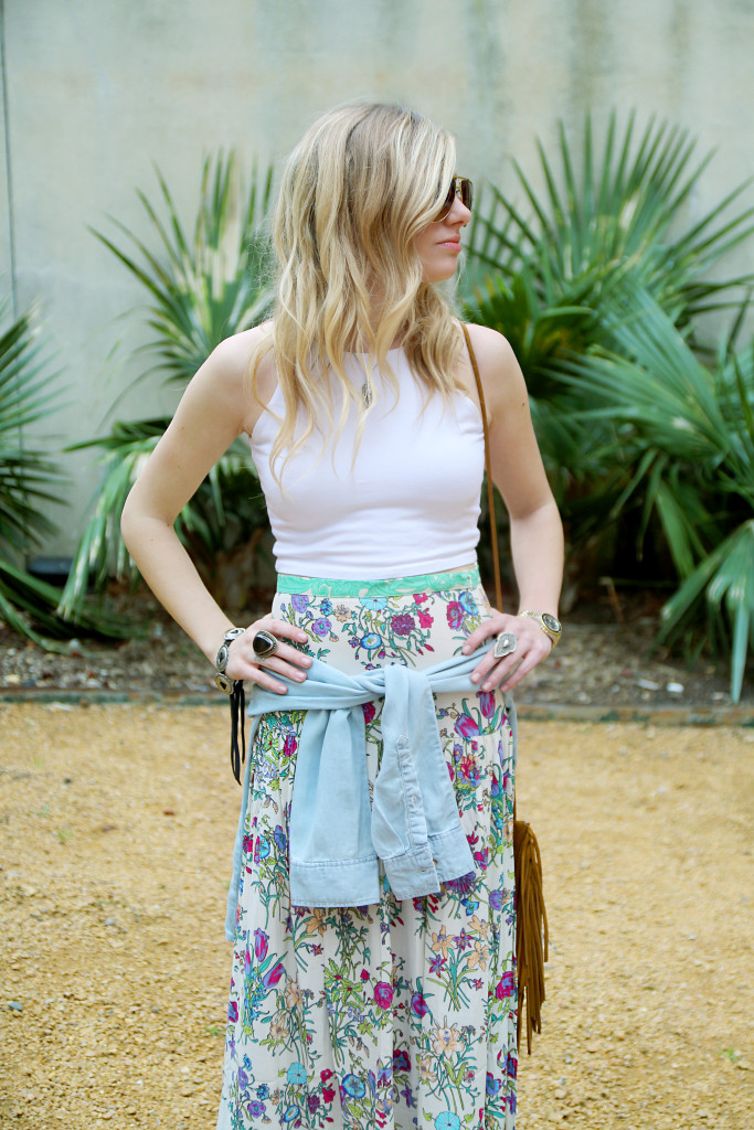 spell byron bay floral maxi skirt