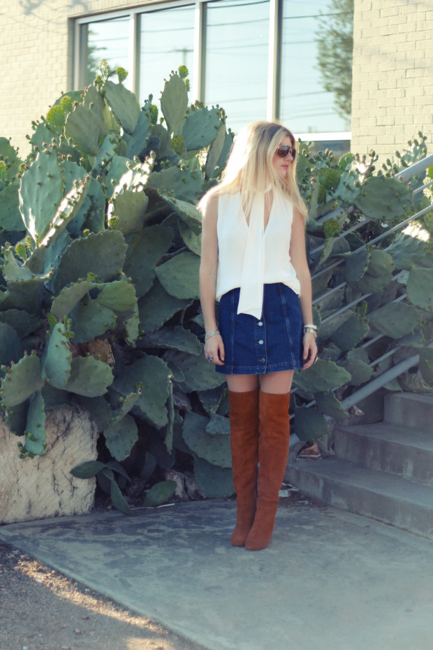 neck tie top denim a line skirt and suede knee highs