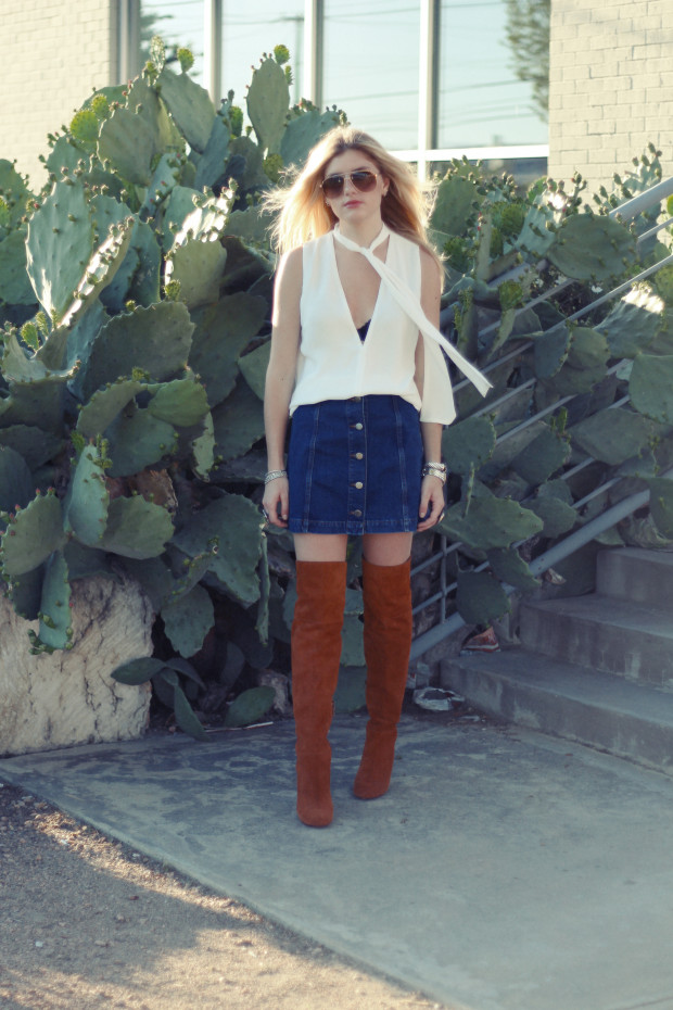 topshop denim skirt and neck tie