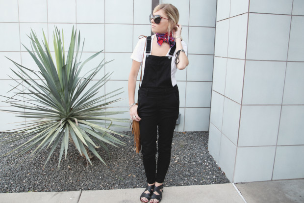 black overalls and knotted scarf