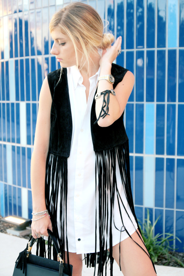 fringe suede vest and oxford dress