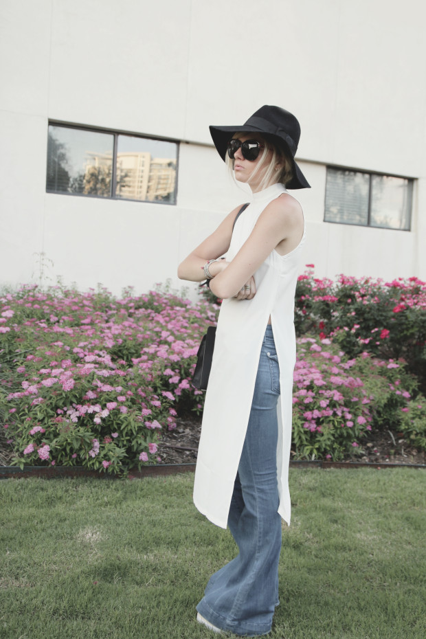 high end hippie bell bottoms and high neck top with side slit
