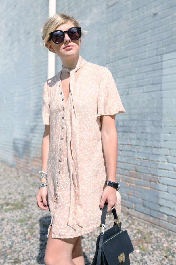 karen walker sunglasses and lenni neck tie dress