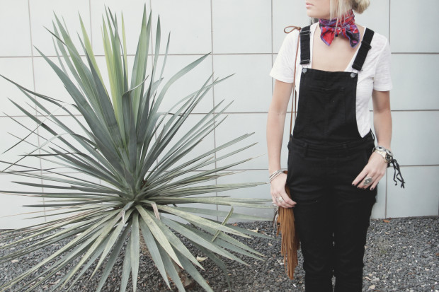 knotted scarf and overalls high end hippie