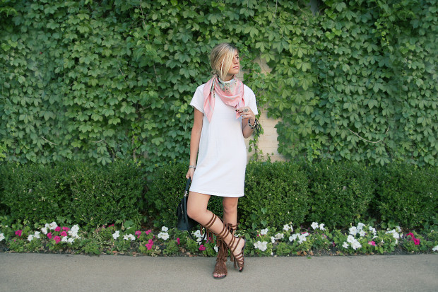 t shirt dress scarf and fringe suede gladiators