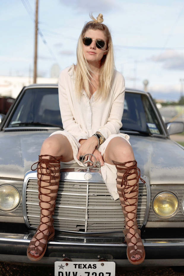 UO Roadtrip kneee high lace up gladiators