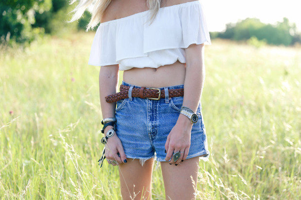 asos off the shoulder top and cut offs