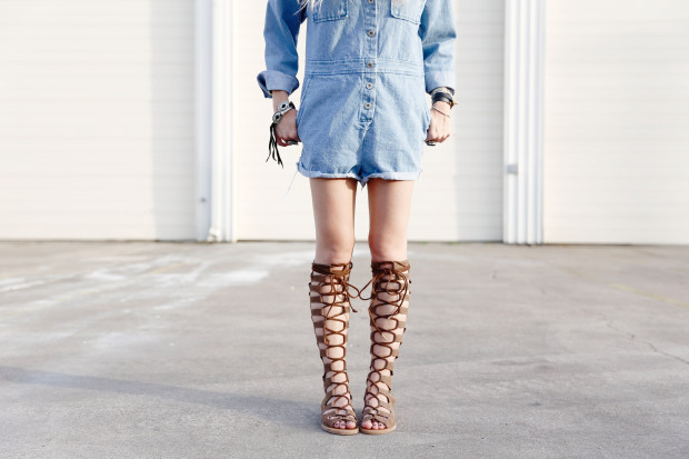 denim romper and lace up suede gladiators