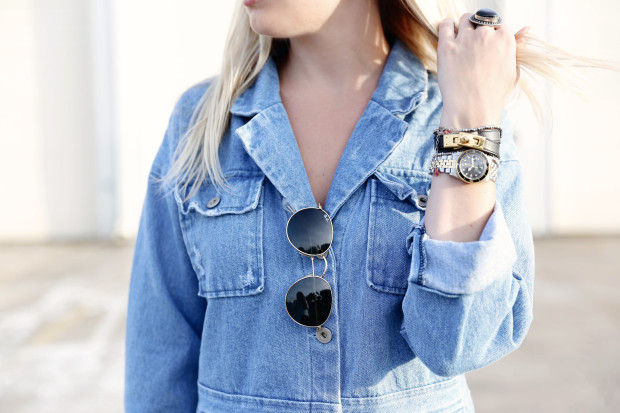 denim romper and ray bans
