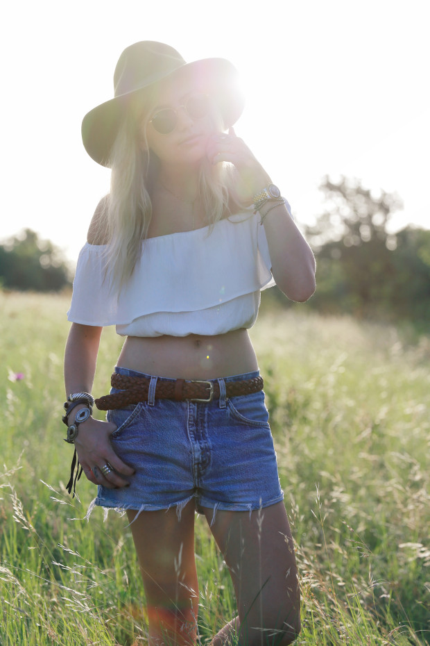 high end hippie off the shoulder top and cut offs