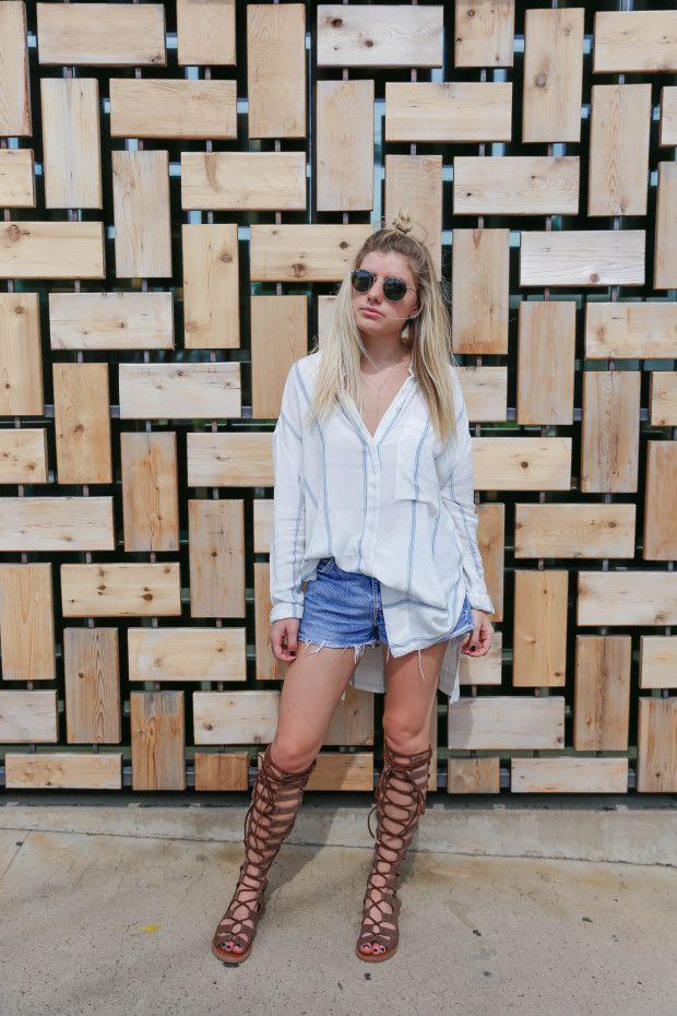 jeffrey campbell gladiators denim cut offs and striped button down