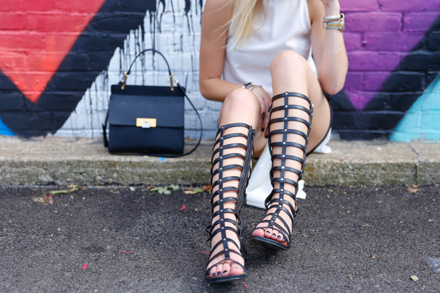 le dix balenciaga bag and stuart weitzman gladiators