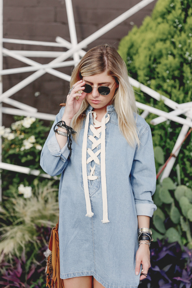 pixie market denim lace up dress and ray bans