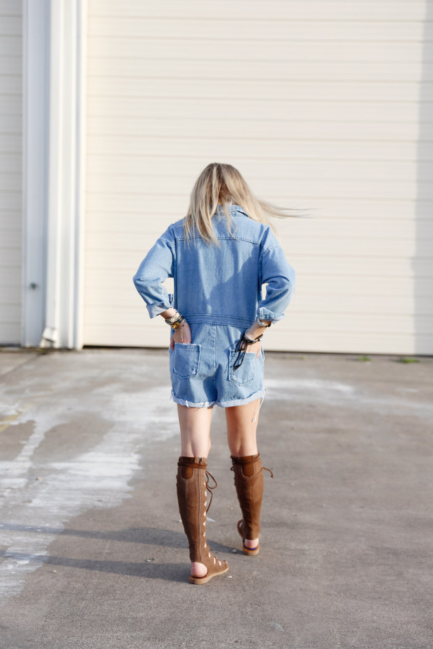 pixie market denim romper and gladiators