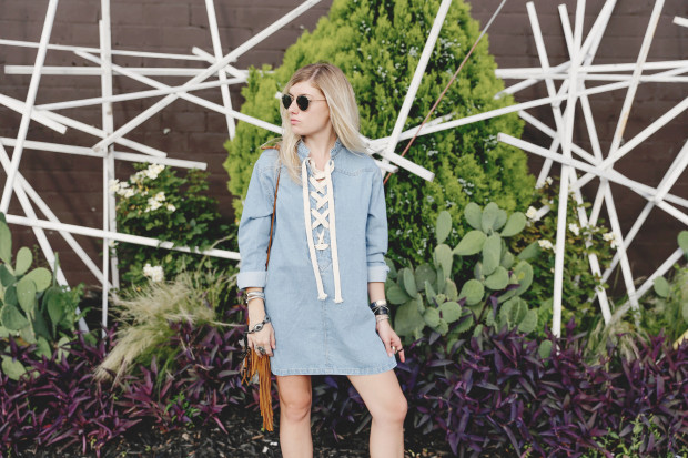 ray bans and lace up denim dress high end hippie