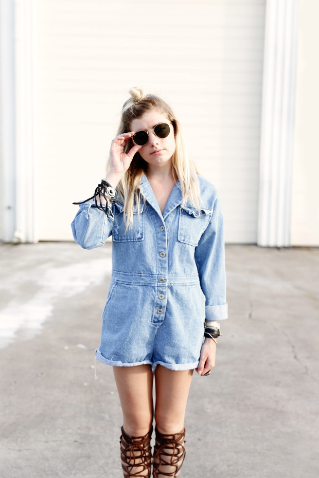 round ray bans and denim romper