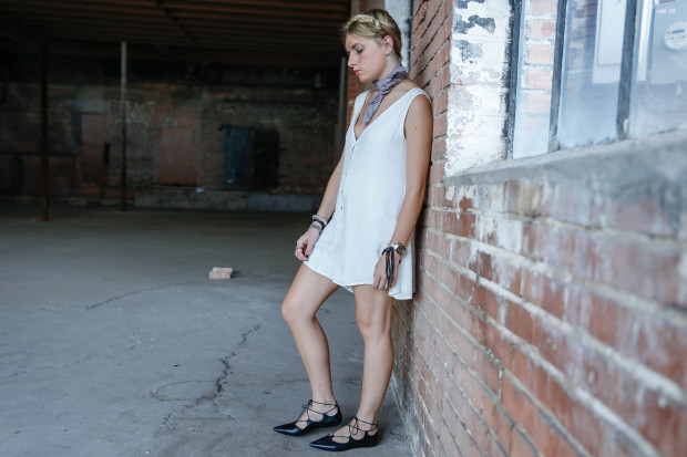 bandana white romper and topshop alce up flats