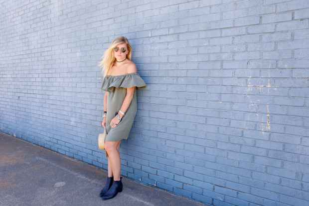 choker and off the shoulder dress