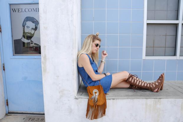 denim dress and ysl suede fringe bag