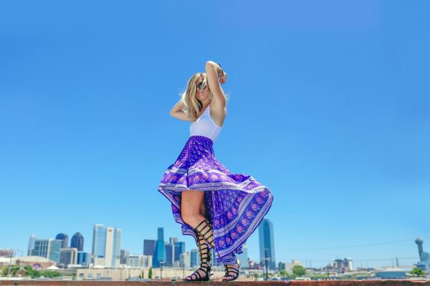 high end hippie maxi skirt