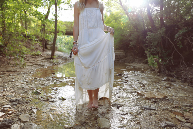 high end hippie white maxi