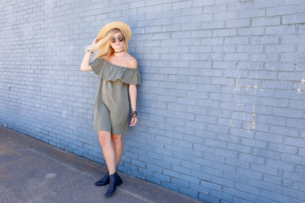 off the shoulder dress and modern vice booties