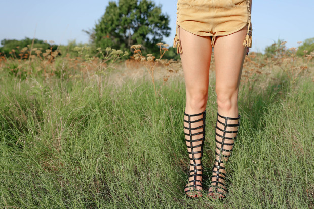 spell byron bay suede shorts and gladiators