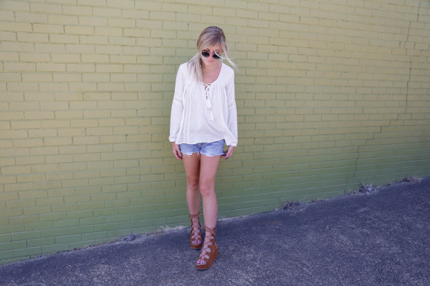 topshop blouse and gladiators