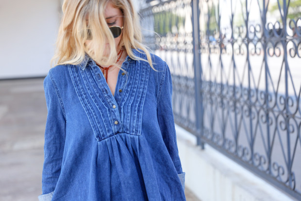 denim dress and bolo