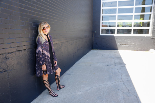 drop waist dress and stuart weitzman gladiators