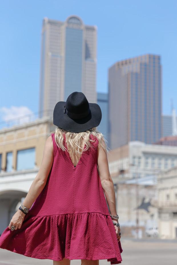 drop waist dress and velvet hat