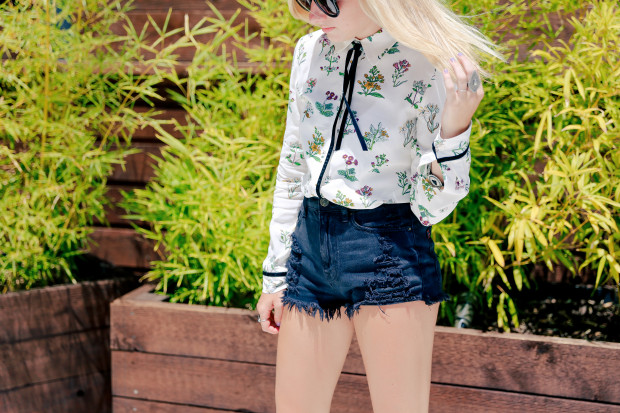 floral top and cutoffs