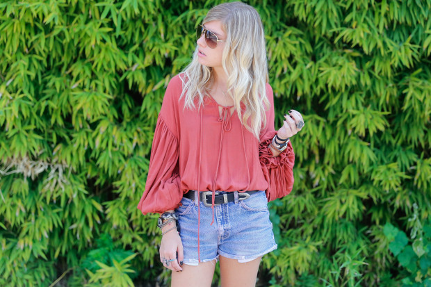 free people lace up blouse with extreme sleeves