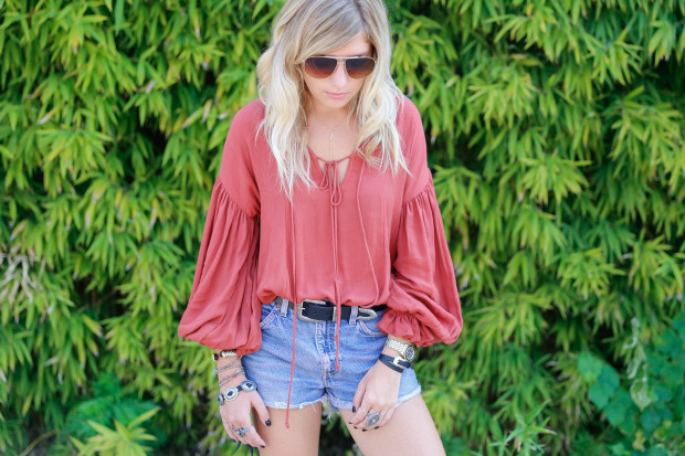 free people rust tunic and concho belt