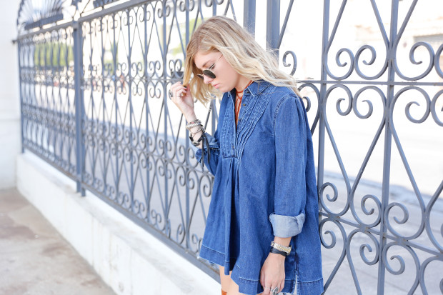high end hippie free people denim dress