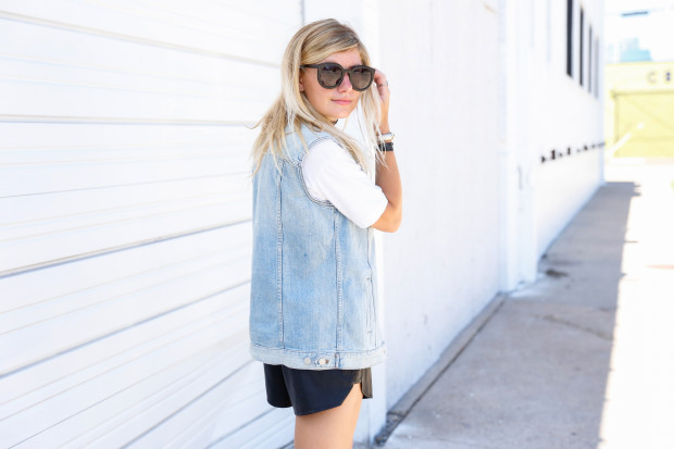karen walker sunglasses and denim vest