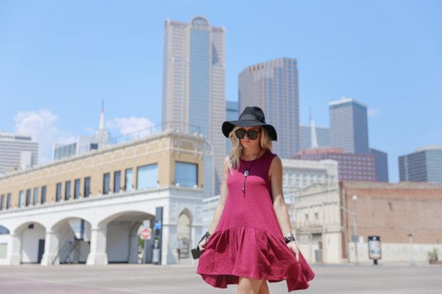 karen walker sunglasses and drop waist dress