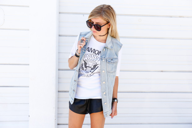 ramones graphic tee and denim vest