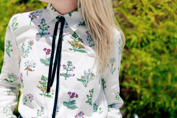 topshop botanical print shirt with neck tie