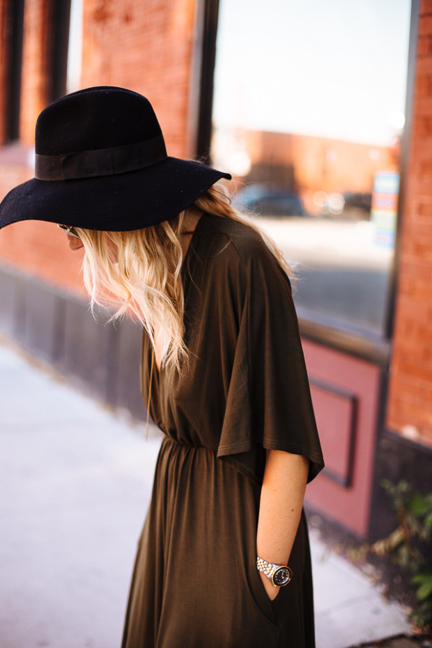 army green knit dress