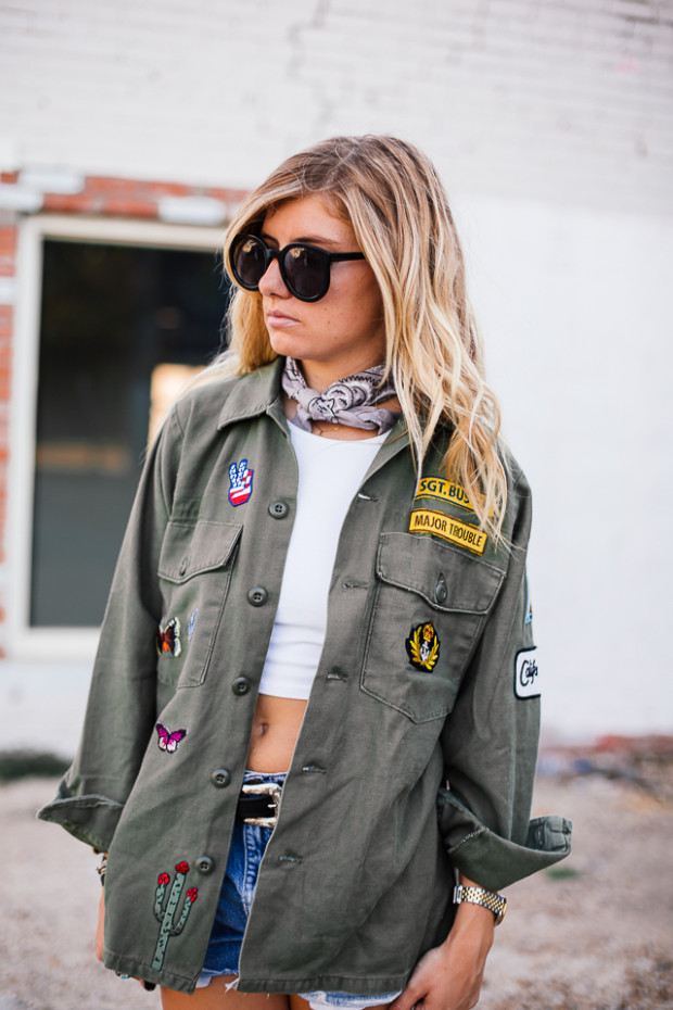 army jacket and bandana