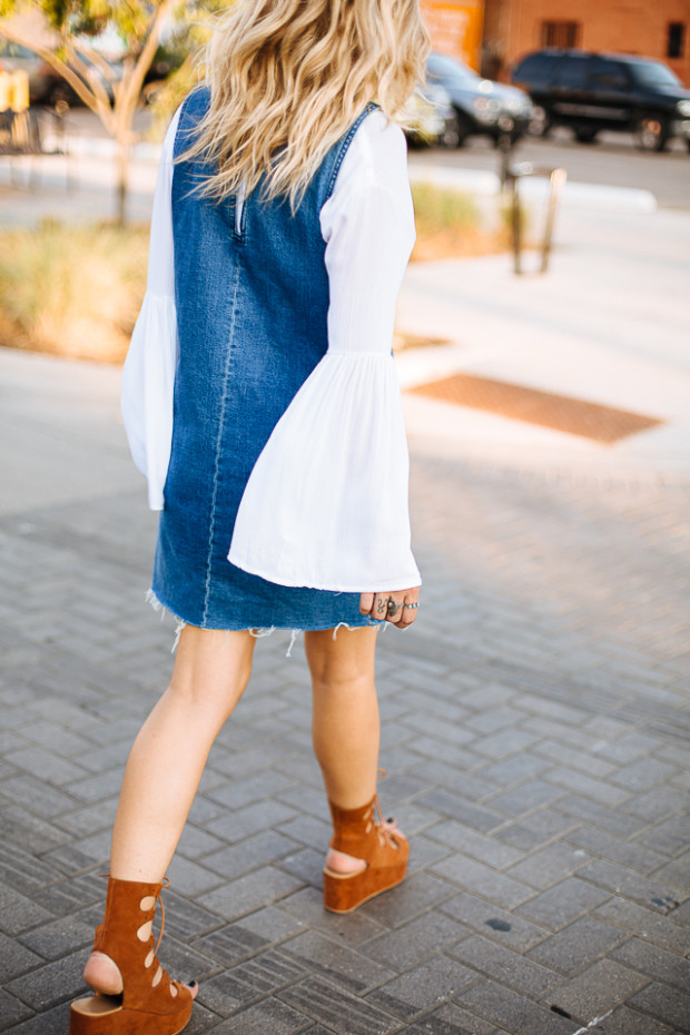 bell sleeve top and denim dress