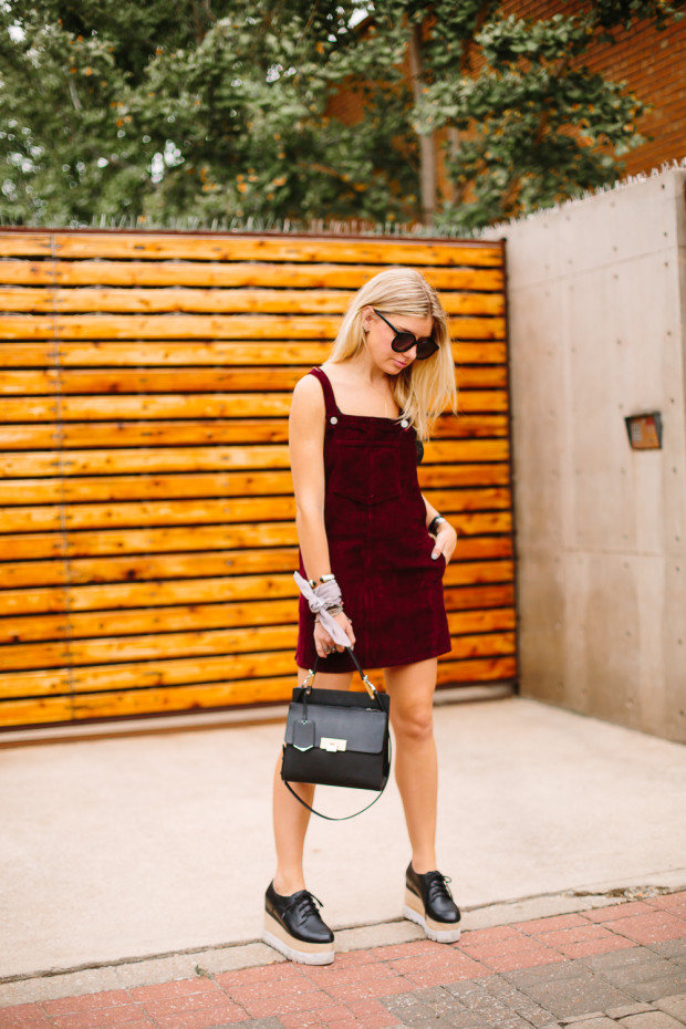 corduroy dress and platform shoes