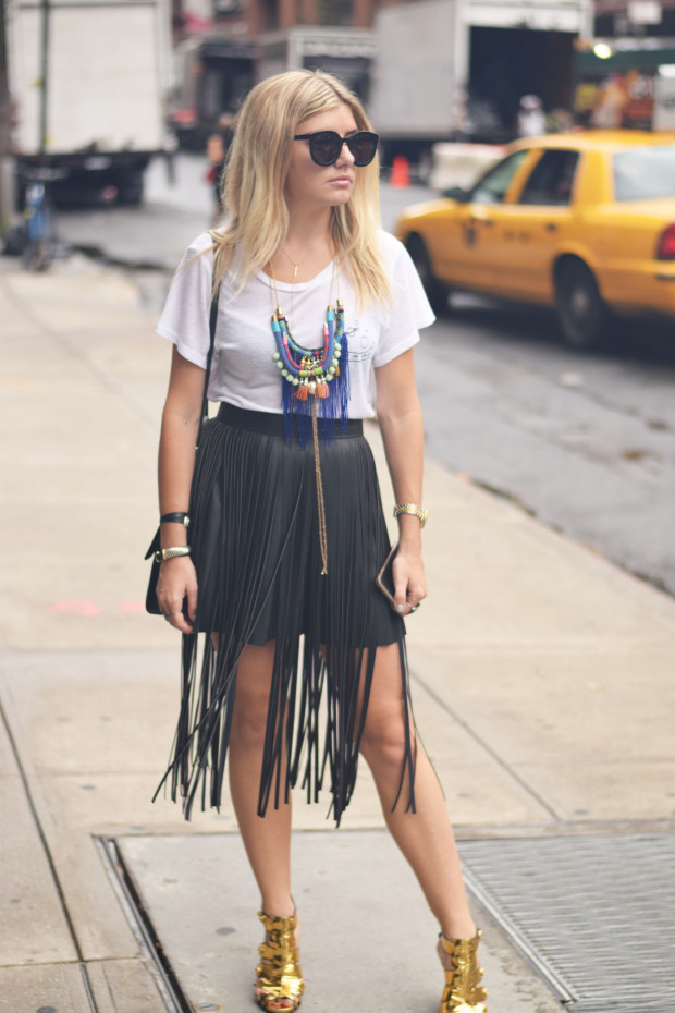 fringe leather overlay