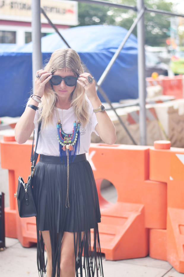 fringe leather skirt and reformation tee